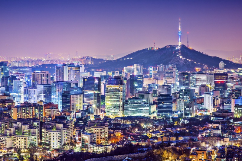 A perfect view of Seoul South Korea on the top of a hill