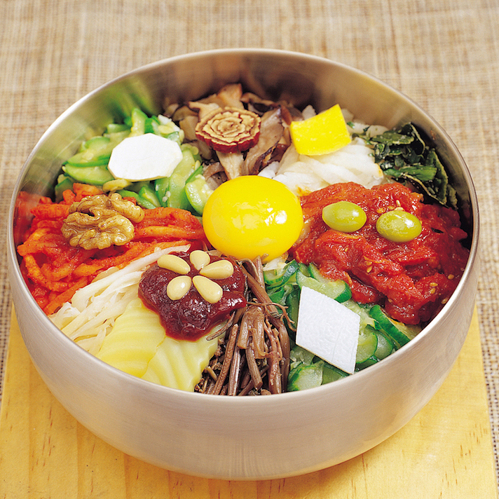 Delicious Korean foods, dishes vegetables with egg on the top